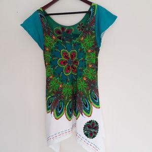 Desigual multi color tunic top short sleeves sz XL